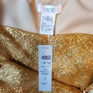 Cache Tops - NWT! Cache size 8 halter top gold/brown tone print